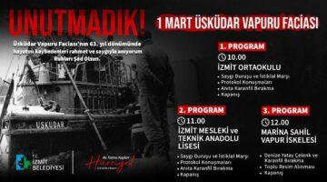 İzmit Belediyesi, Üsküdar Vapuru faciasında yitirdiklerimizi anacak