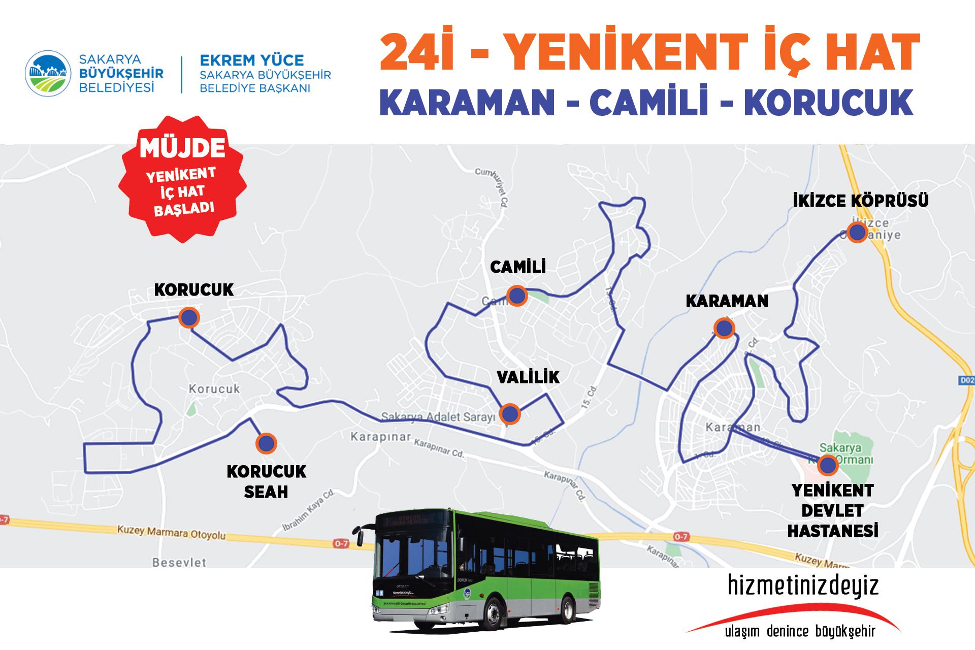 Yenikent bölgesinde belediye otobüs hattı hizmette