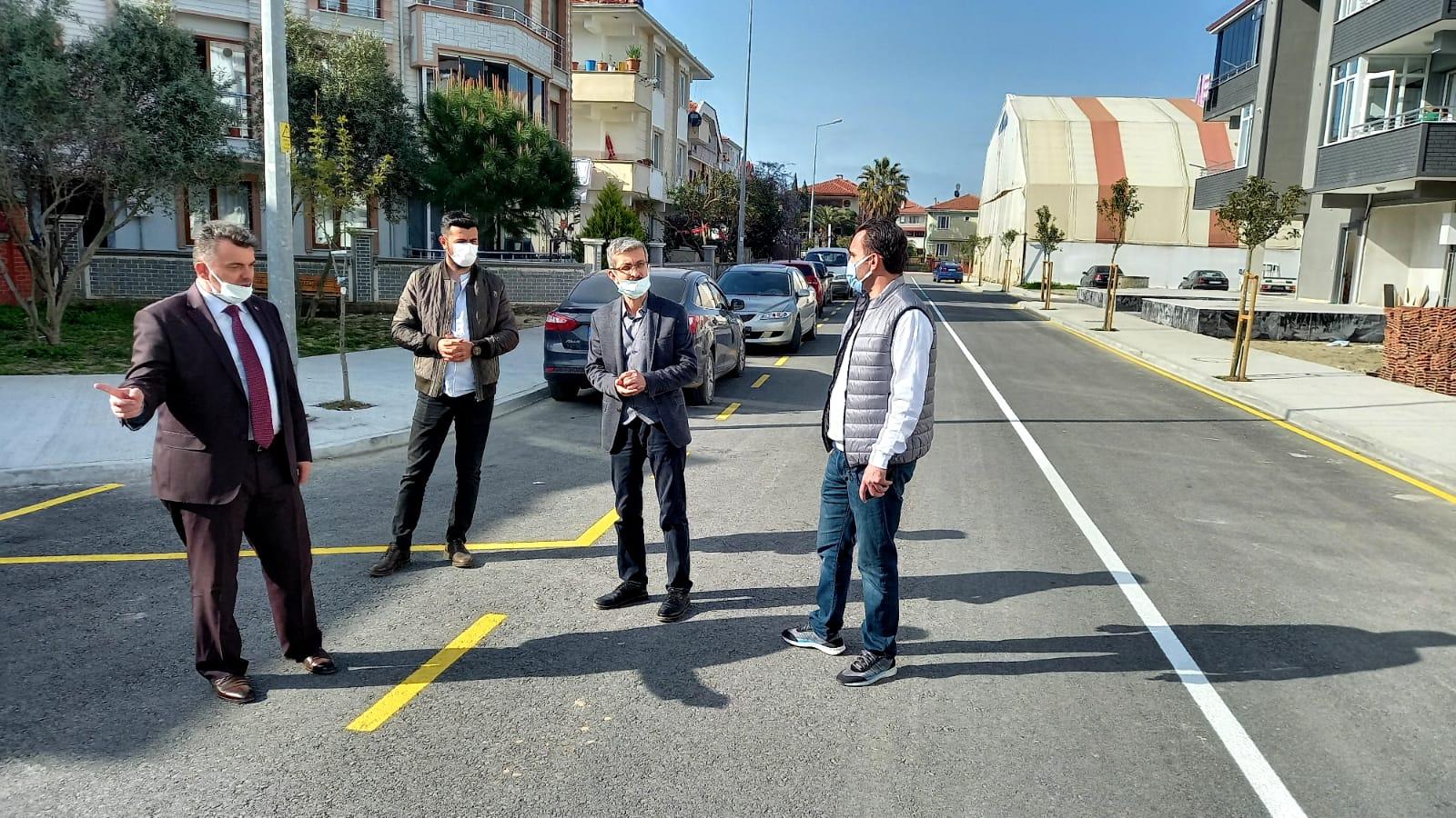 """""""Karasu Belediyesinden yol çizgi çalışması"""""""