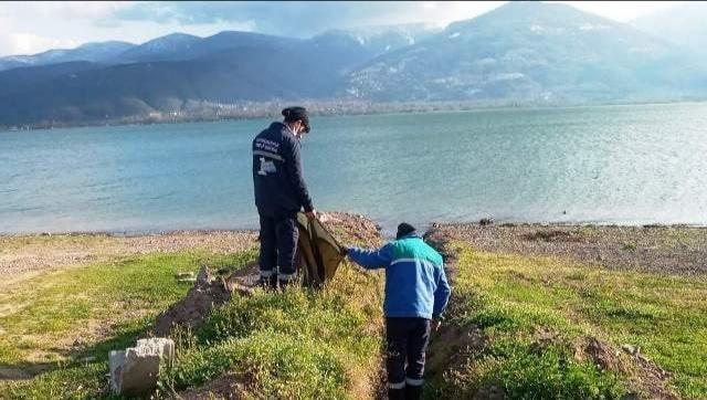 Sapanca Gölü kıyısında temizlik