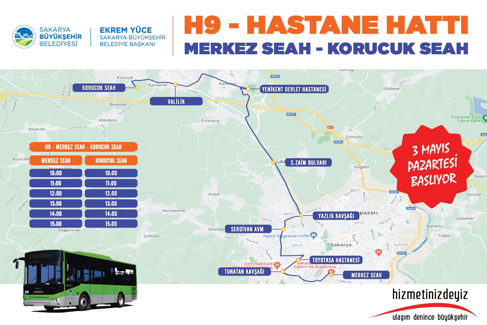 Kısıtlamadan muaf olan vatandaşlar ve sağlık çalışanları içinHastane ulaşımına yeni hat: H9