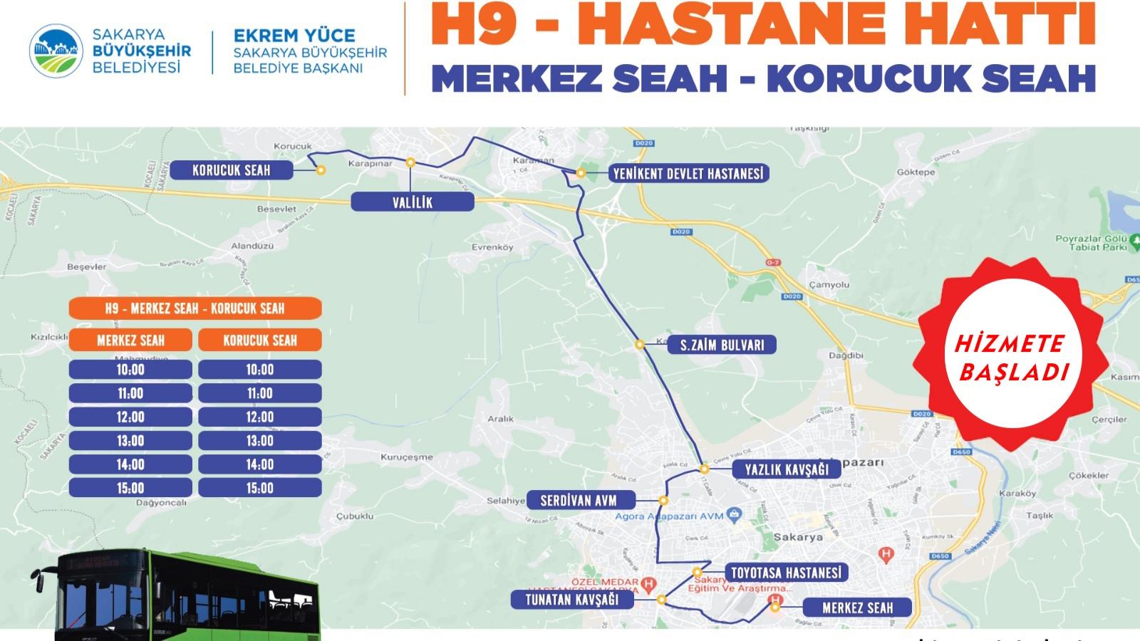 Yeni hastane hattı (H9) hizmet vermeye başladı